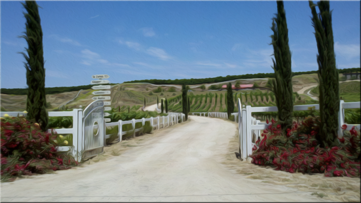 Temecula winery entrance depicted in oil paint crushed for Paint and wine temecula