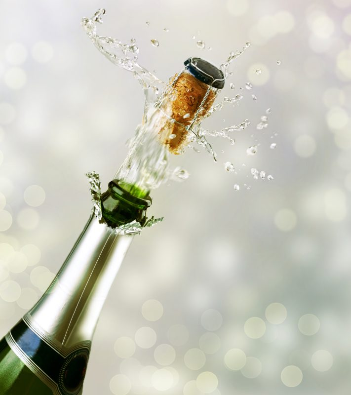 Popping a champagne cork!