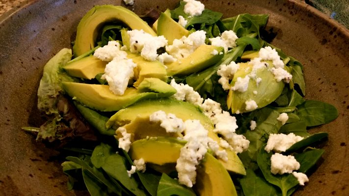 Avocado herbed goat cheese greens