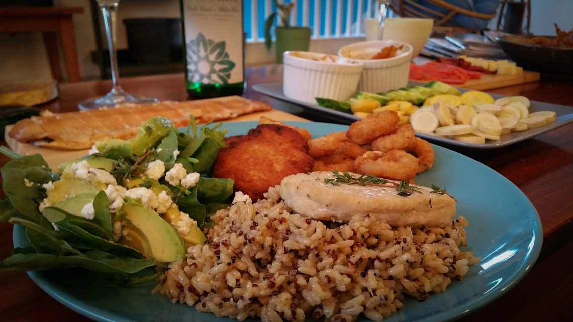 Vinho Verde with Mahi Mahi, brown rice, avocado salad, calamari and latkes