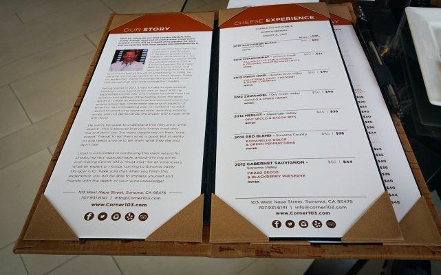 Corner 103 tasting menu