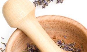 mortor with lavender