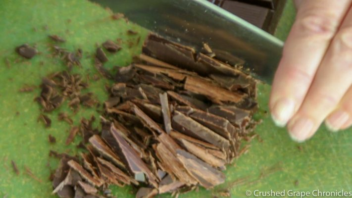 overhead cutting chocolate for chocolate bark