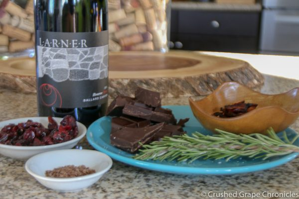 Larner Reserve Syrah with choclate Bark ingredients, rosemary, cranberries, bacon, coffee finishing salt