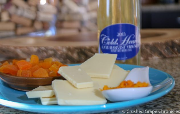 Late Harvest Viognier from Cold Heaven with white chocolate Bark
