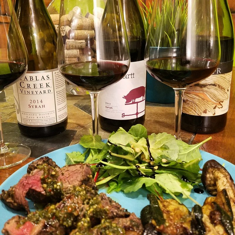 Grilled sirloin & Syrah Tablas Creek 2014, Carhartt 2013 and Larner Transverse 2014