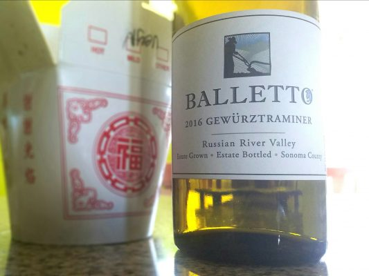 Balleto gewürztraminer and Chinese food.