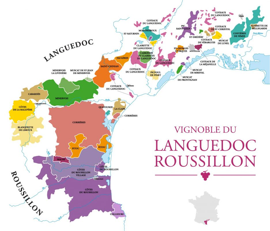 Map of the Languedoc-Rousillon Wine Region in France