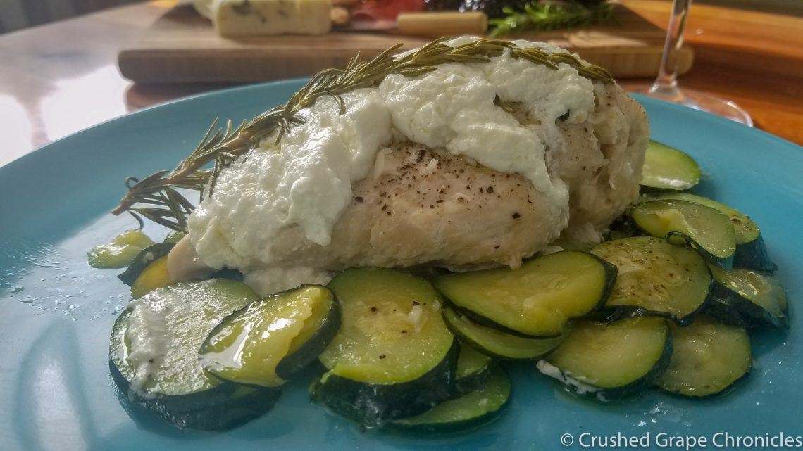 Braised Chicken with Zucchini and Goat Cheese