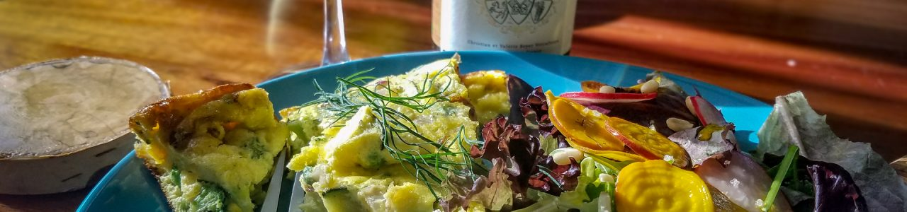 Spring Vegetable Frittata and salad with pickled beets and radishes