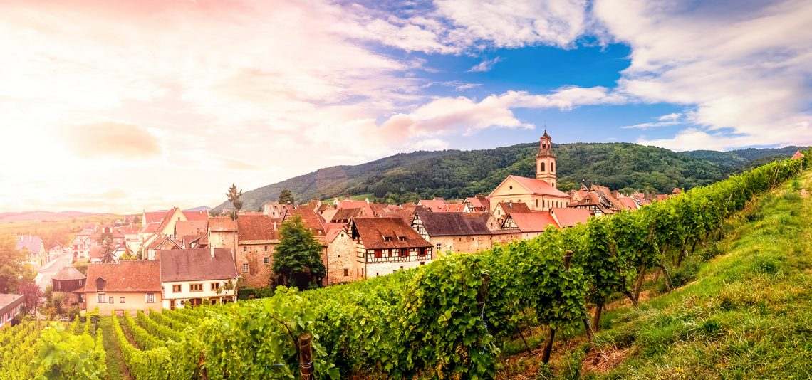 The village of Riquewihr in Alsace France
