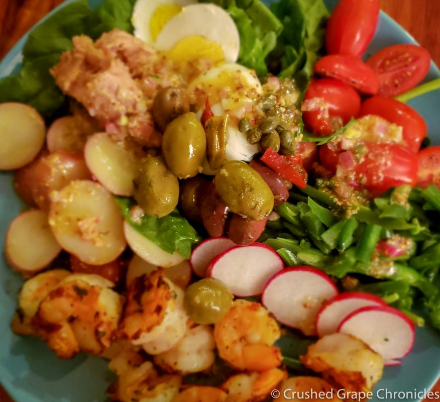 a Traditional Salade Nicoise with shrimp on the side