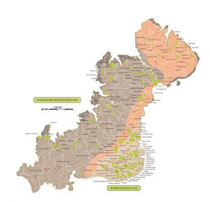 Willamette Valley Map courtesy of Willamette Valley Wine Association