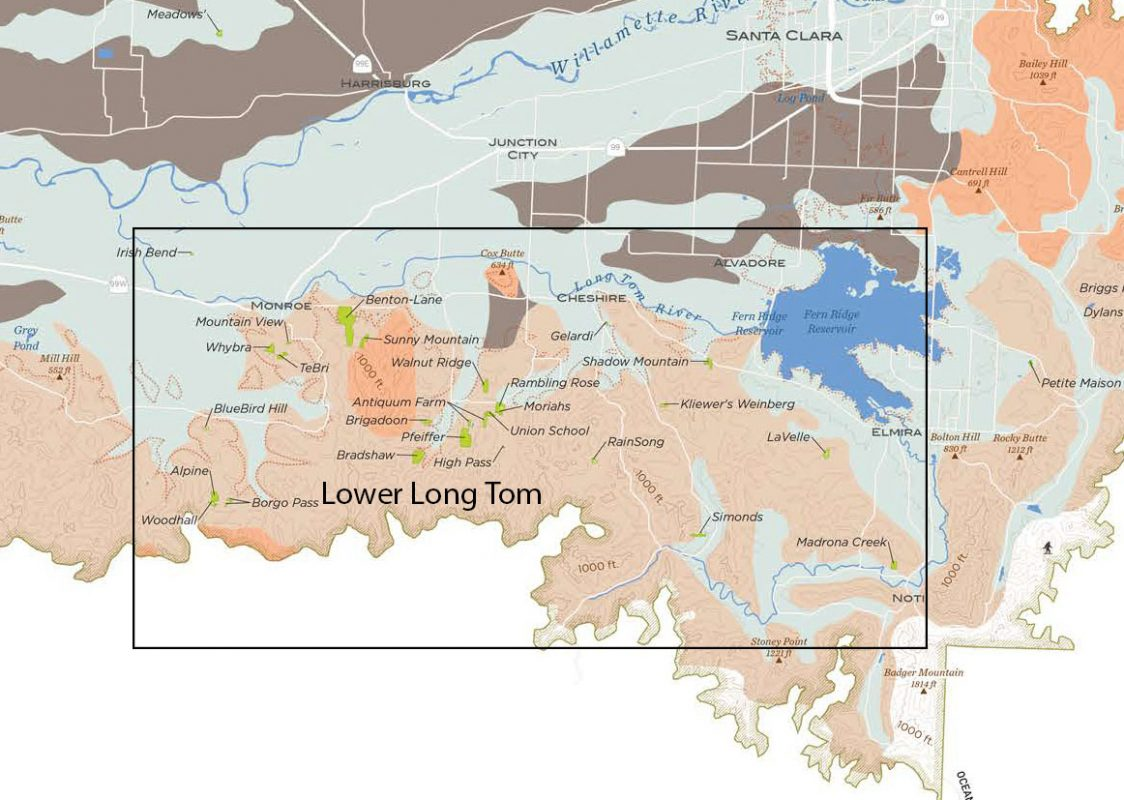 General Area of the proposed Lower Long Tom AVA