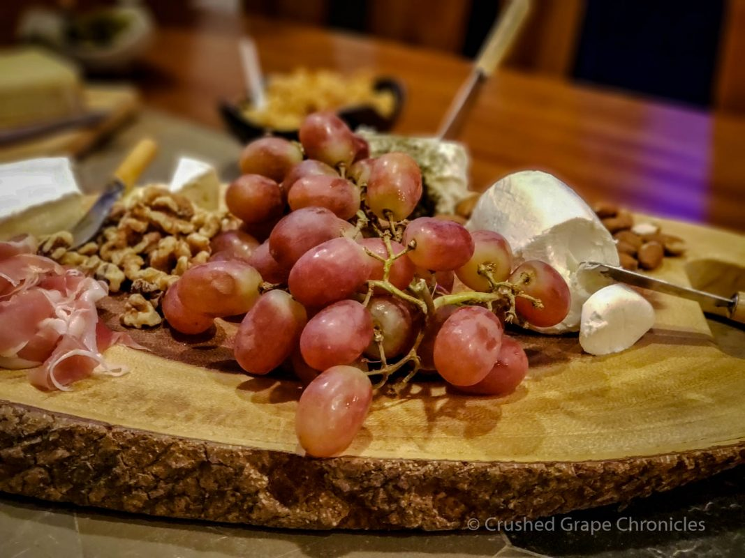 Grapes, pecans, almonds, and goat cheeses, herbed and honeyed