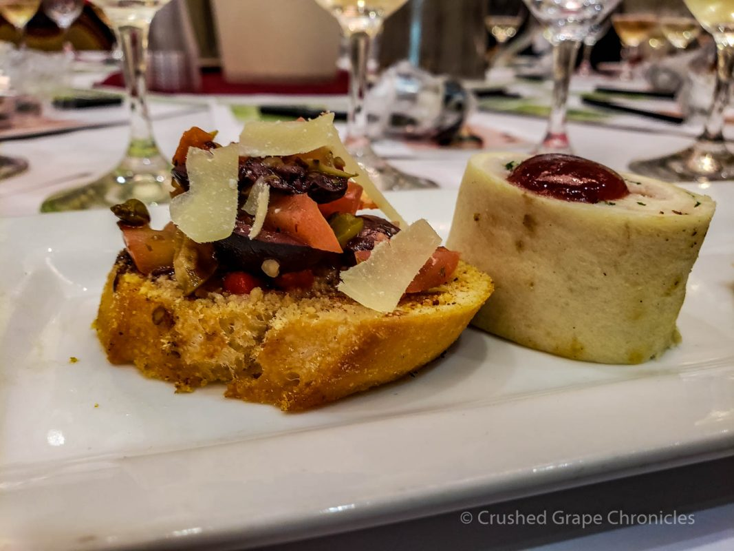 Bruschetta in the foreground and Turkey pinwheel in the back  Bubbles and Bites