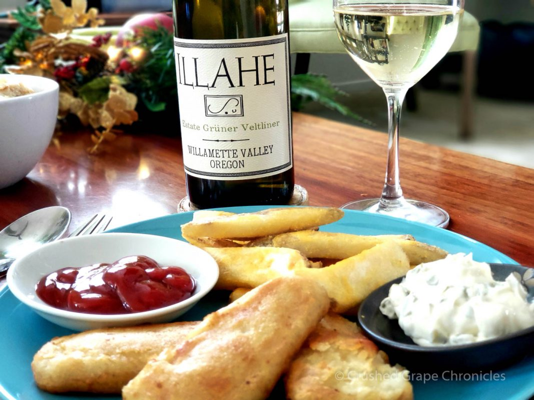 Illahe2017 Estate Gruner Velthiner with Fish and Chips