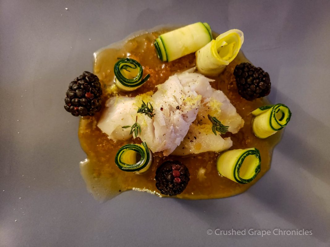 Butter poached cod and lemon purée with Zucchini and lemon salad