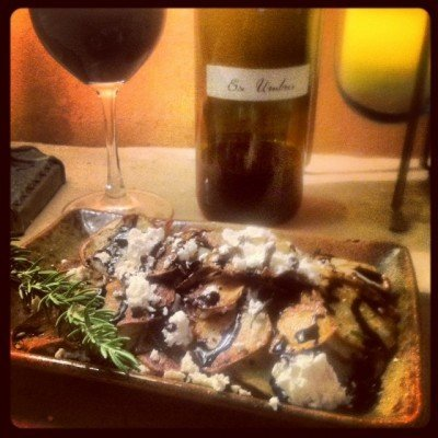 Rosemary potatoes with goat cheese and balsamic reduction and 2011 Ex Umbris Syrah.