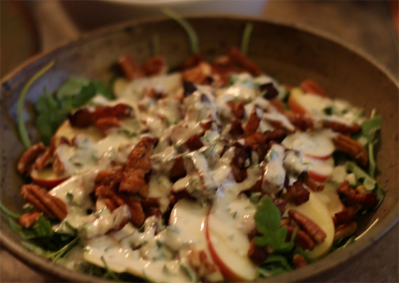 Arugula Apple Maple Bacon Pecan Salad
