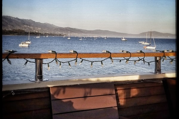 Evening view from the Conway Family Vineyards Deep Sea Tasting Room on the pier in Santa Barbara