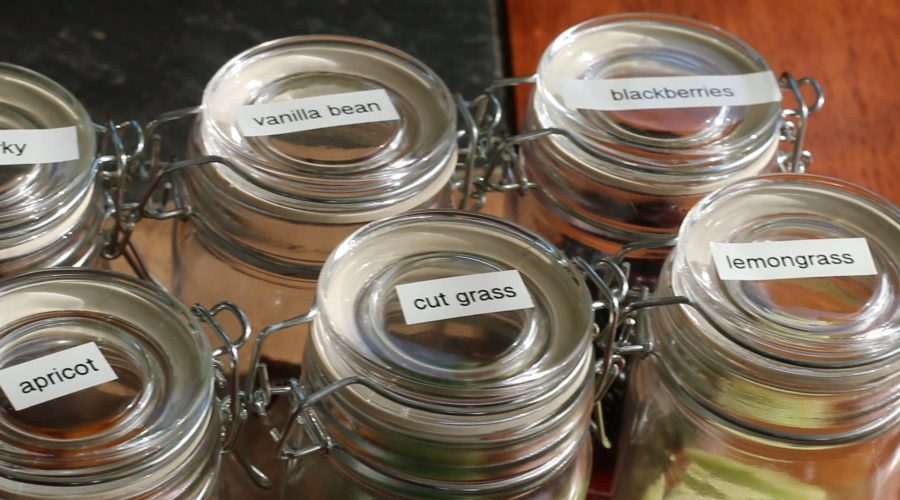 Scent jars for blind tasting Event with Crushed Grape Chronicles