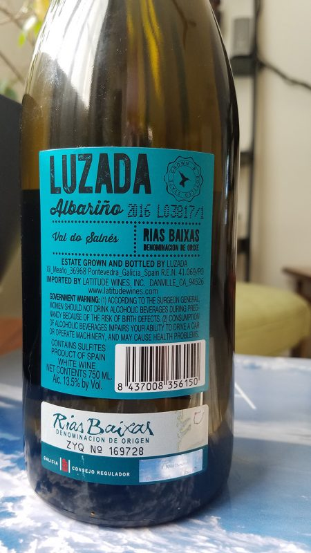 Luzada Albarino back label