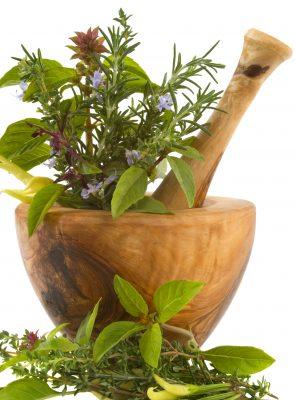 herbs with pestle