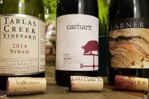 Syrah bottles Tablas Creek Carhartt Larner