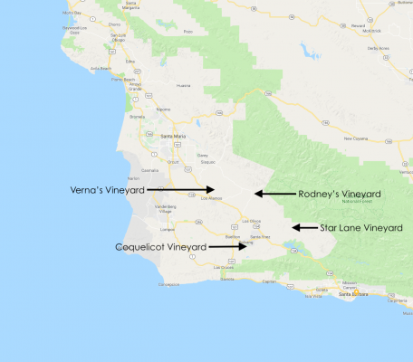 Map of Santa Barbara with the vineyards for Larner's Transverse Syrah noted