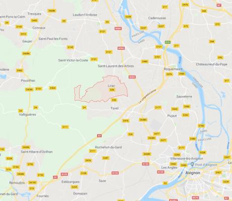 Map of Lirac region of the Rhône Valley