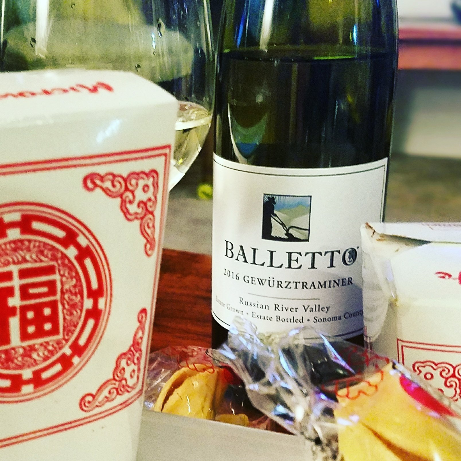 Chinese Takeout and gewürztraminer.