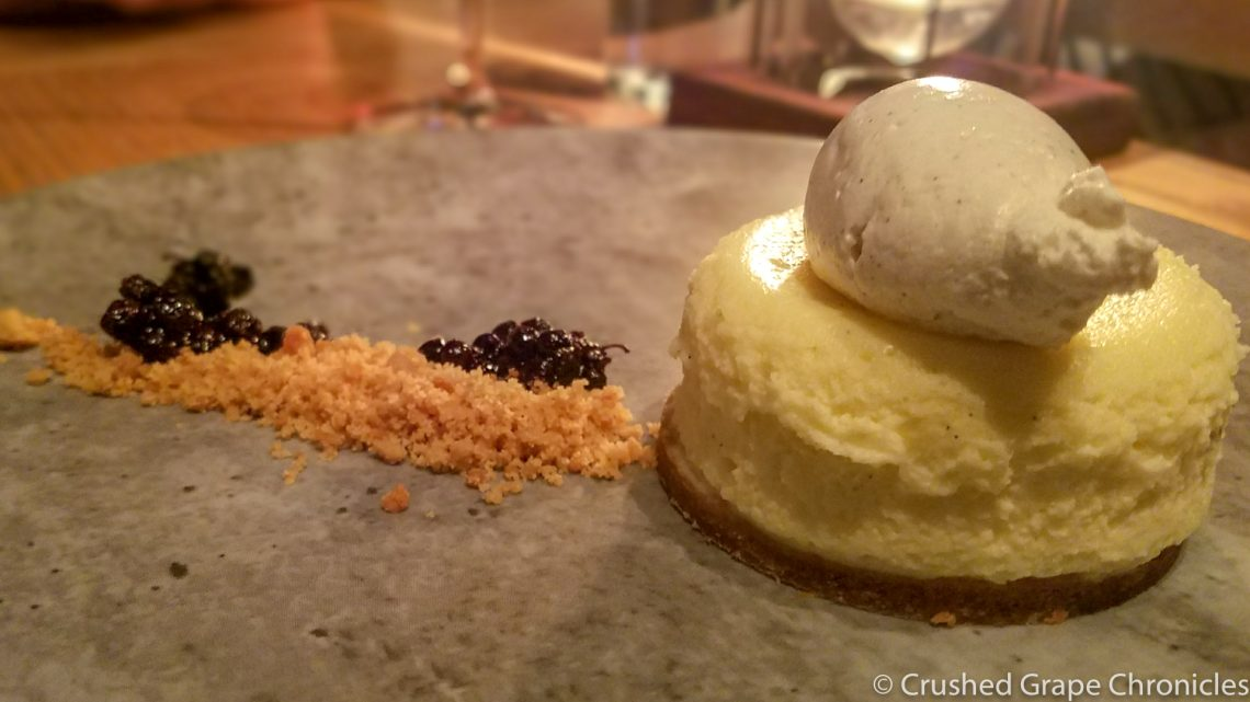 Mascarpone Cheesecake with huckleberries & spiced streusel at Masso Osteria