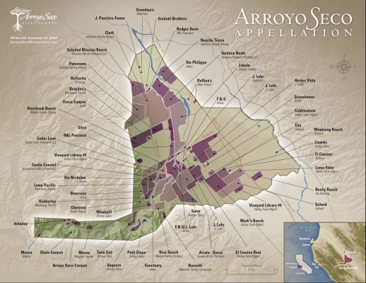 Arroyo Seco Appellation map