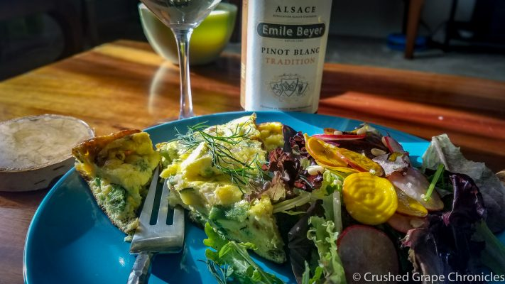 Sprint salad with pickled beets and radishes and a spring vegetable frittata with a Pinot Blanc