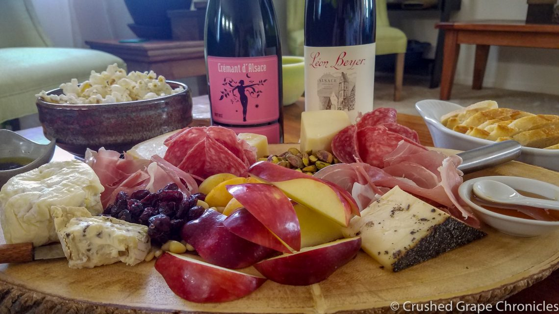 Crémant d'Alsace & Pinot Noir from Alsace and a cheese platter