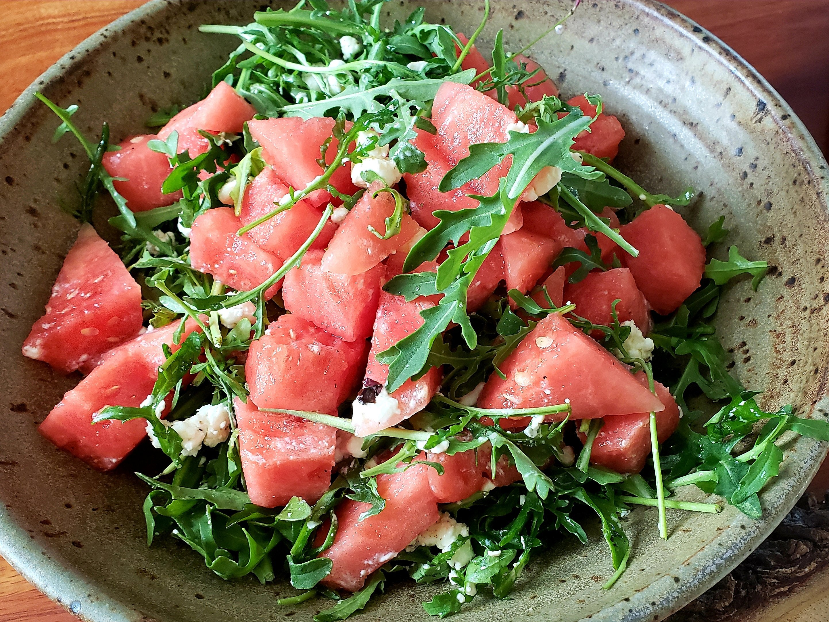 watermelon, arugula and goat cheese salad