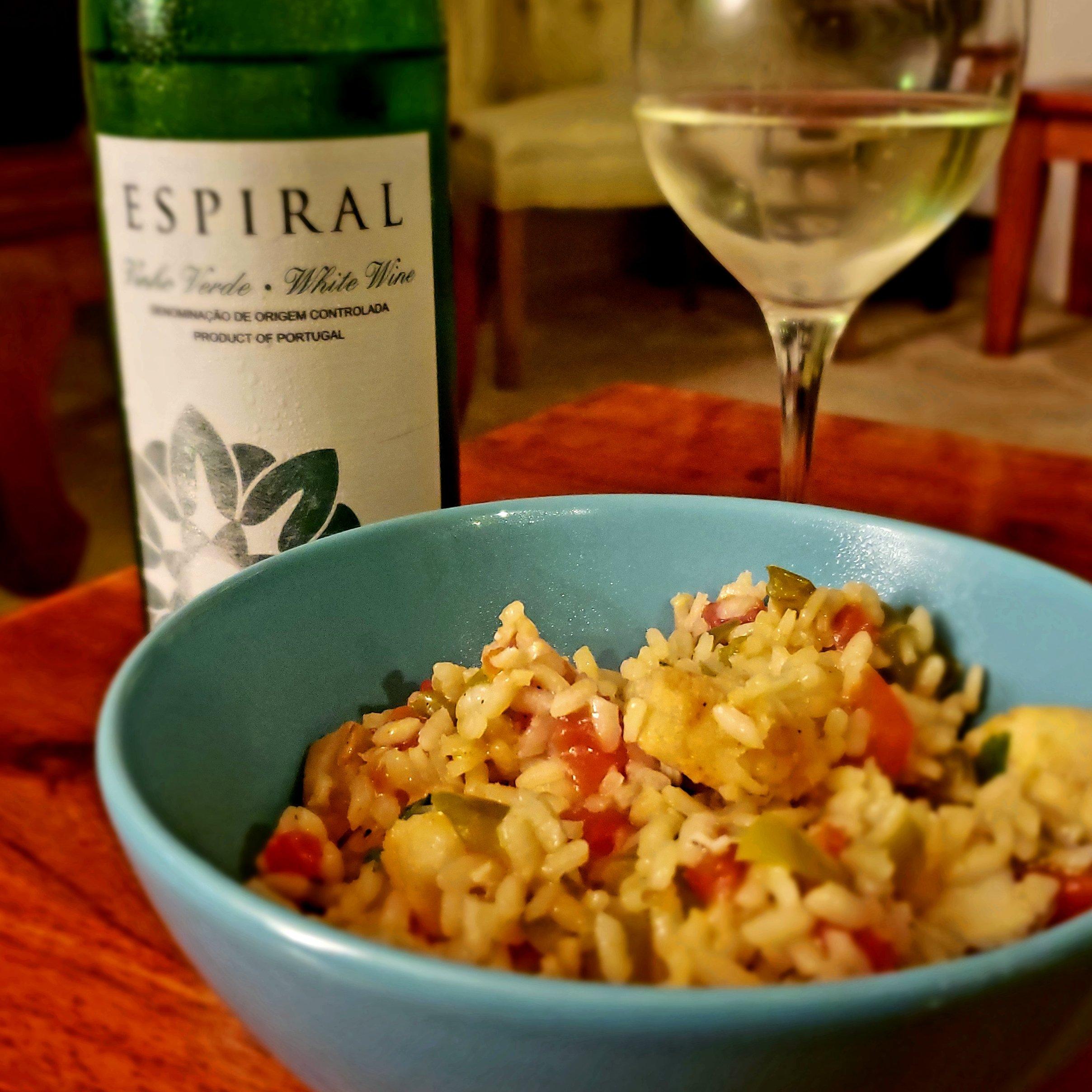 Vinho Verde and Arroz de Bacalhau