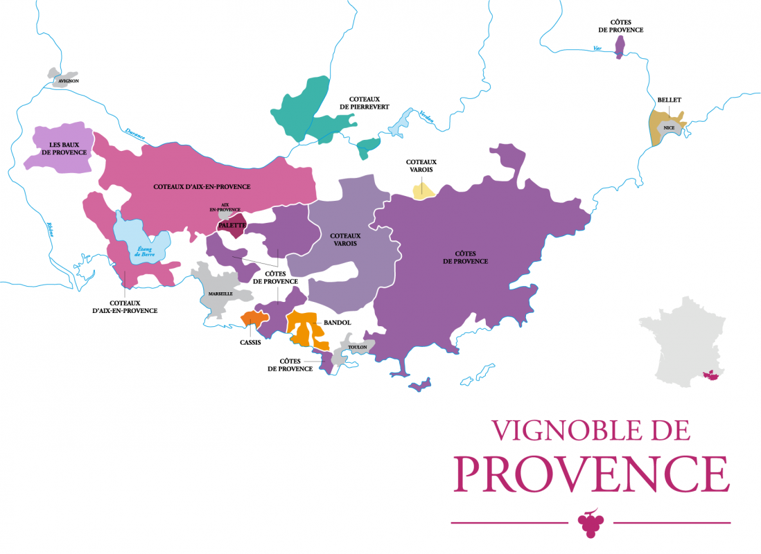 a map of the wine regions in Provençe