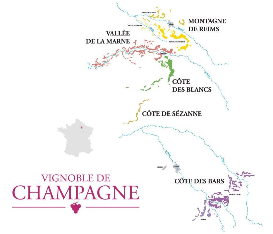 Map of the regions within the Champagne AOC
