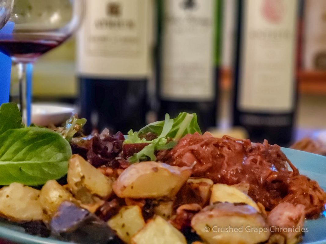 Beef barbeque with herbed potatoes to pair with three Malbecs from Cahors