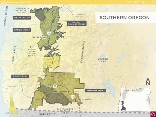 Oregon-Wine-Map-Southern-OR-AVA Courtesy of Oregon Wine Board