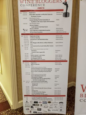 Agenda Board for Wine Writers Conference