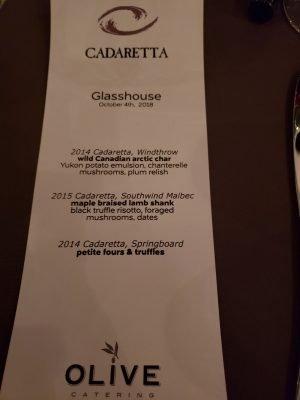 Caderetta Dinner menu