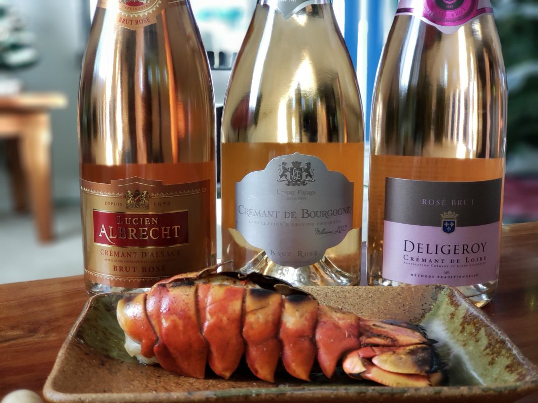 Sparkling Crémant Rosé and lobster tails