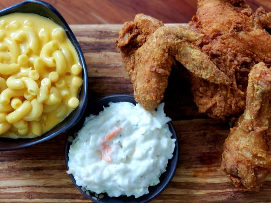 Fried chicken, coleslaw and mac and cheese