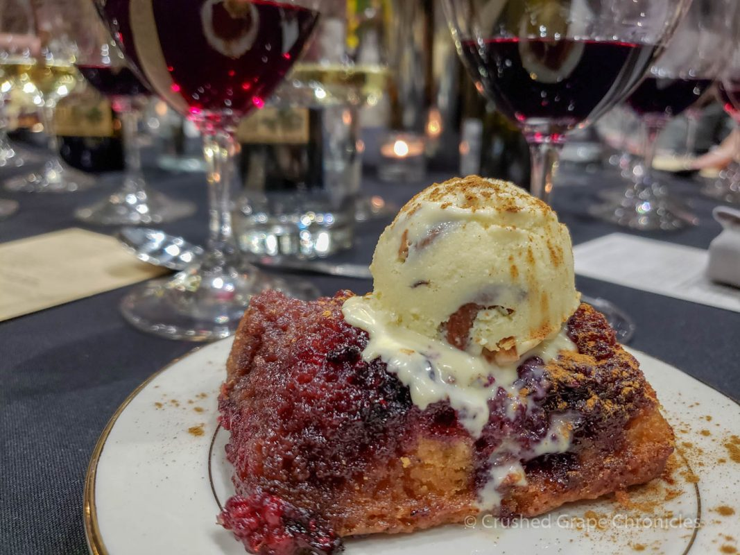 Opal Blackberry upside down cake with corn and cashew gelato