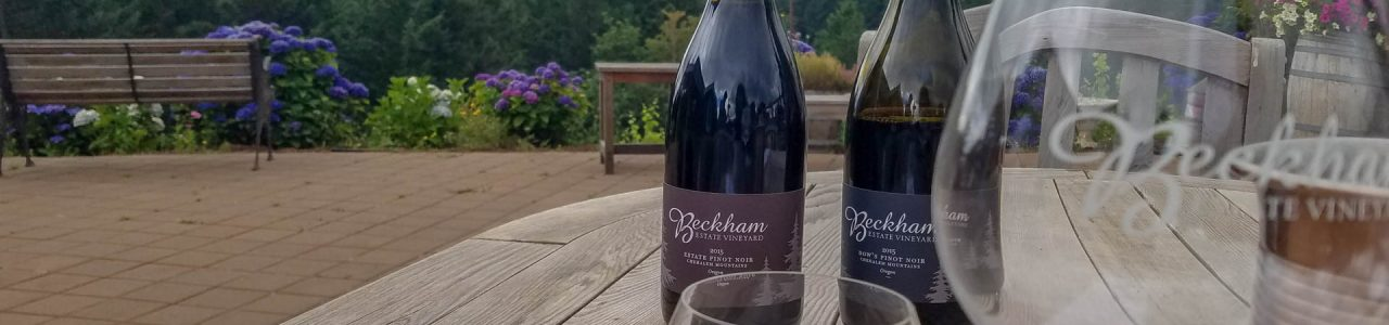 Wine tasting at Beckham Vineyard with a view of the Chehalem Mountains