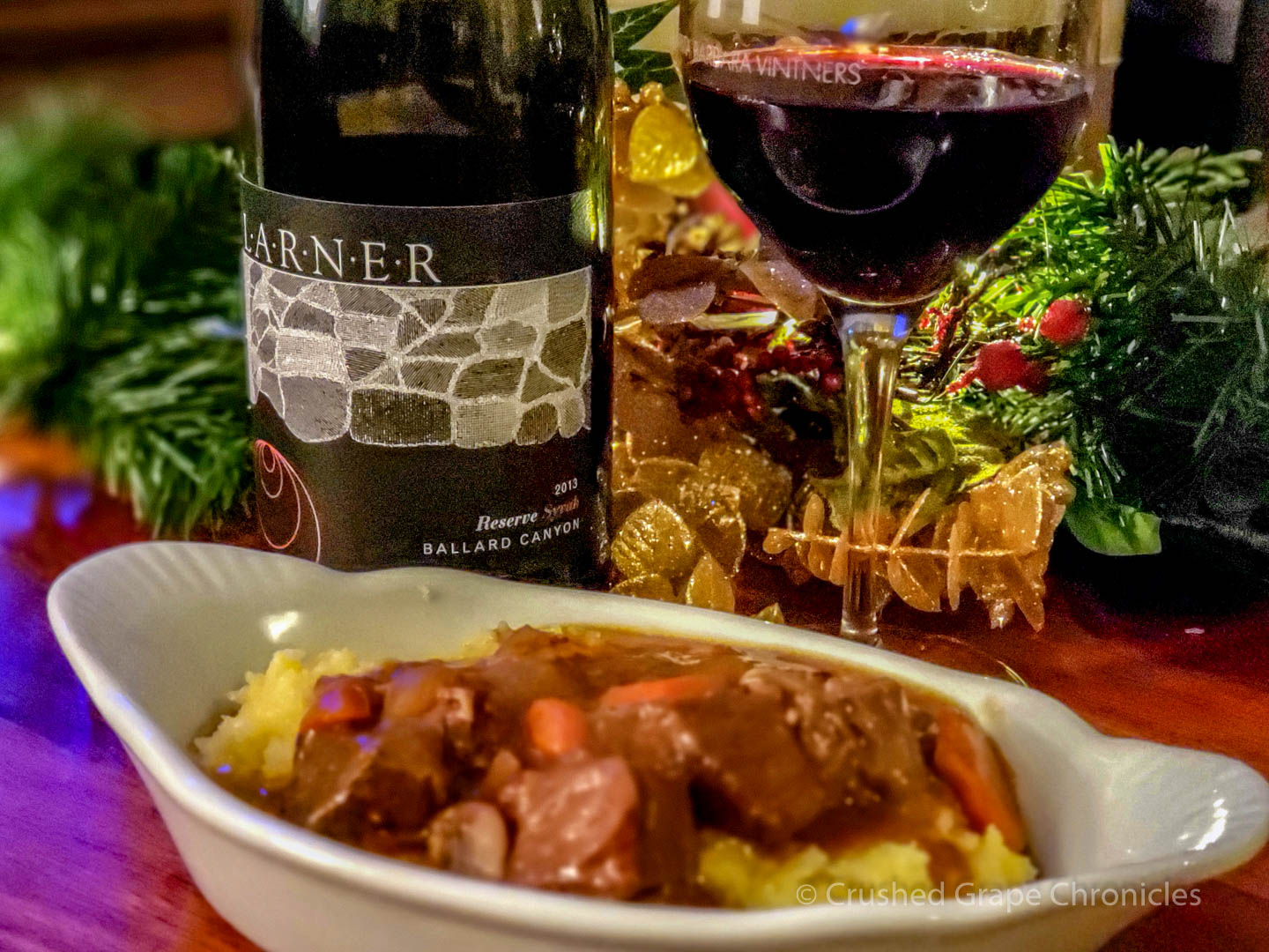 Larner Reserve Syrah with Beef stew and Polenta