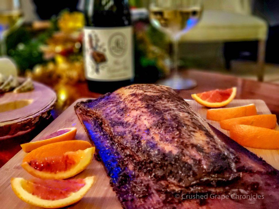 Leah Jørgensen Cellars, Blanc de Cabernet Franc, with Cedar planked Salmon